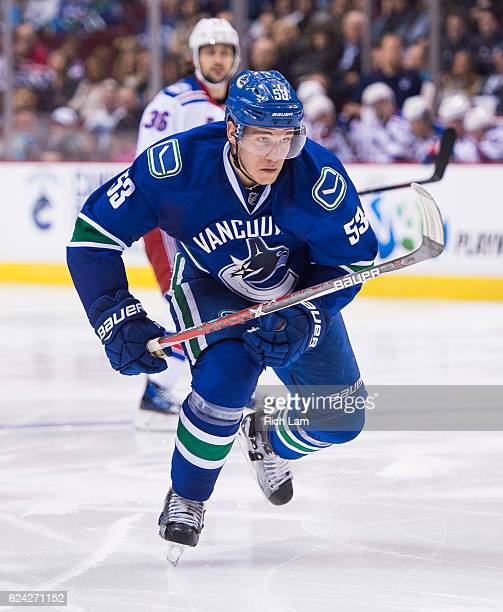 Bo Horvat of the Vancouver Canucks skates in NHL action against the New York Rangers on November 15 2016 at Rogers Arena in Vancouver British...