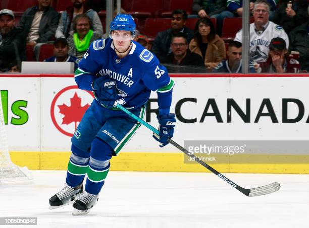 Bo Horvat of the Vancouver Canucks skates up ice during their NHL game against the Colorado Avalanche at Rogers Arena November 2 2018 in Vancouver...