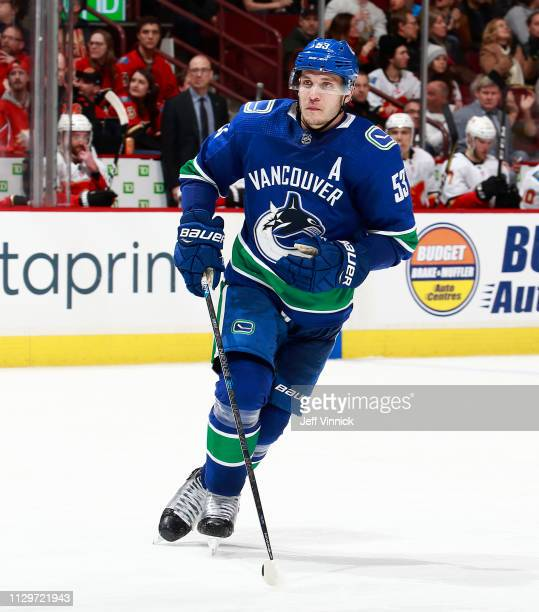 Bo Horvat of the Vancouver Canucks skates up ice during their NHL game against the Calgary Flames at Rogers Arena February 9 2019 in Vancouver...