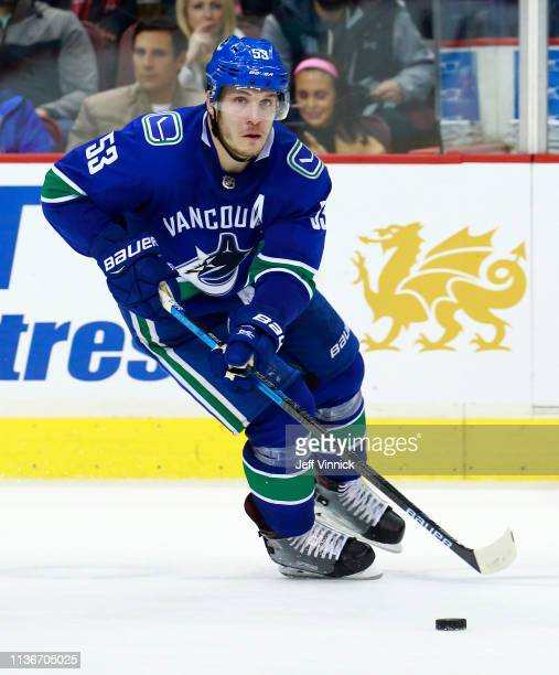 Bo Horvat of the Vancouver Canucks skates up ice during their NHL game against the New Jersey Devils at Rogers Arena March 15 2019 in Vancouver...