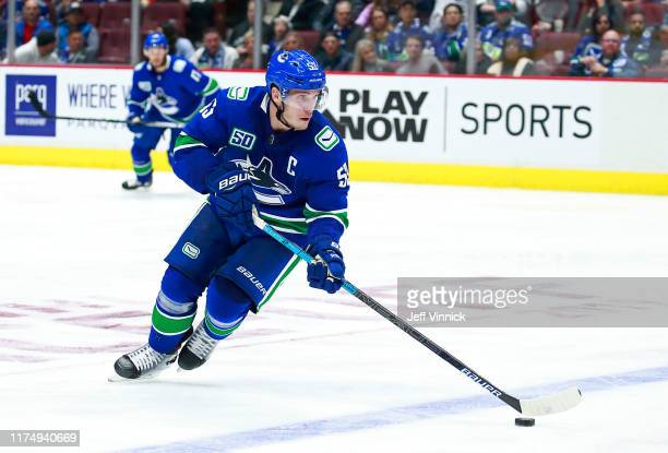Bo Horvat of the Vancouver Canucks skates up ice during their NHL game against the Los Angeles Kings at Rogers Arena October 9 2019 in Vancouver...