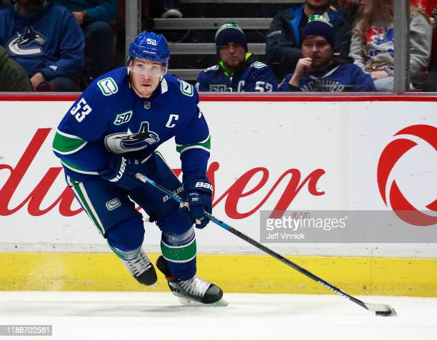 Bo Horvat of the Vancouver Canucks skates up ice during their NHL game against the Dallas Stars at Rogers Arena November 14 2019 in Vancouver British...