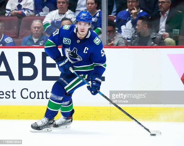 Bo Horvat of the Vancouver Canucks skates up ice during their NHL game against the Toronto Maple Leafs at Rogers Arena December 10, 2019 in...
