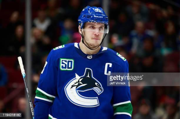 Bo Horvat of the Vancouver Canucks skates up ice during their NHL game against the Carolina Hurricanes at Rogers Arena December 12, 2019 in...