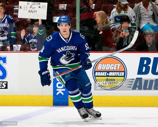 Bo Horvat of the Vancouver Canucks skates up ice during their NHL game against the Edmonton Oilers at Rogers Arena April 9 2016 in Vancouver British...