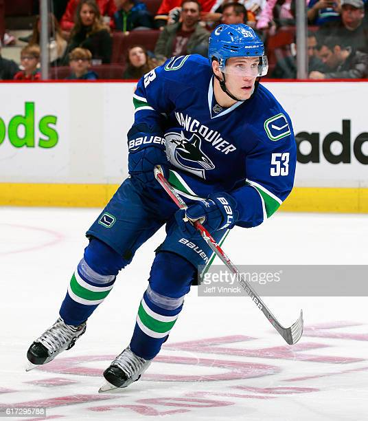Bo Horvat of the Vancouver Canucks skates up ice during their NHL game against the Calgary Flames at Rogers Arena October 15 2016 in Vancouver...