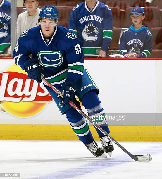 Bo Horvat of the Vancouver Canucks skates up ice during their NHL game against the Buffalo Sabres at Rogers Arena October 20 2016 in Vancouver...