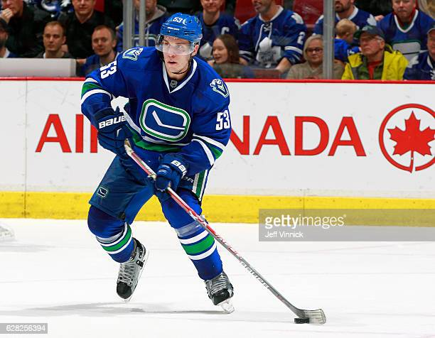 Bo Horvat of the Vancouver Canucks skates up ice during their NHL game against the Toronto Maple Leafs at Rogers Arena December 3 2016 in Vancouver...