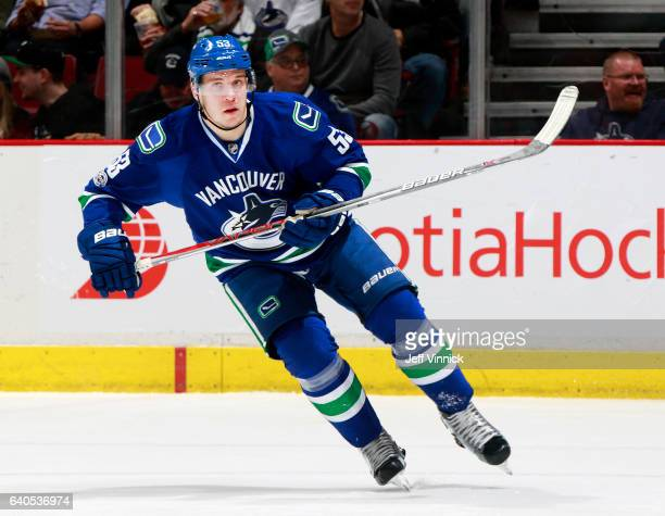 Bo Horvat of the Vancouver Canucks skates up ice during their NHL game against the Nashville Predators at Rogers Arena January 17 2017 in Vancouver...