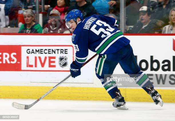 Bo Horvat of the Vancouver Canucks skates up ice during their NHL game against the Edmonton Oilers at Rogers Arena April 8 2017 in Vancouver British...