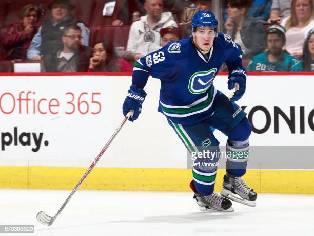 Bo Horvat of the Vancouver Canucks skates up ice during their NHL game against the San Jose Sharks at Rogers Arena April 2 2017 in Vancouver British...