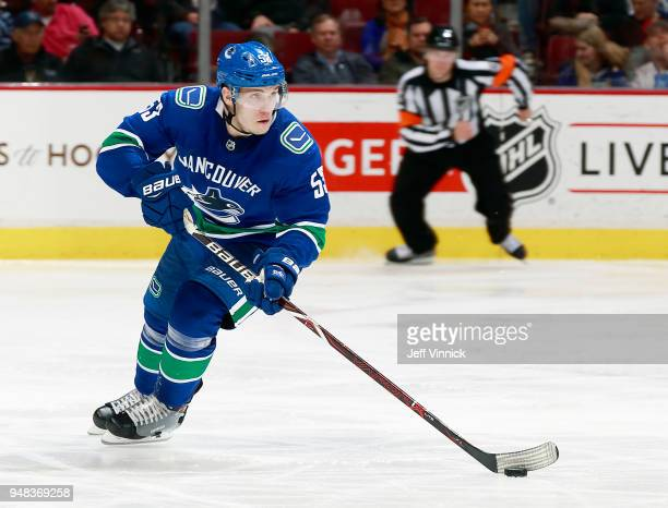 Bo Horvat of the Vancouver Canucks skates up ice with the puck during their NHL game against the Edmonton Oilers at Rogers Arena March 29 2018 in...