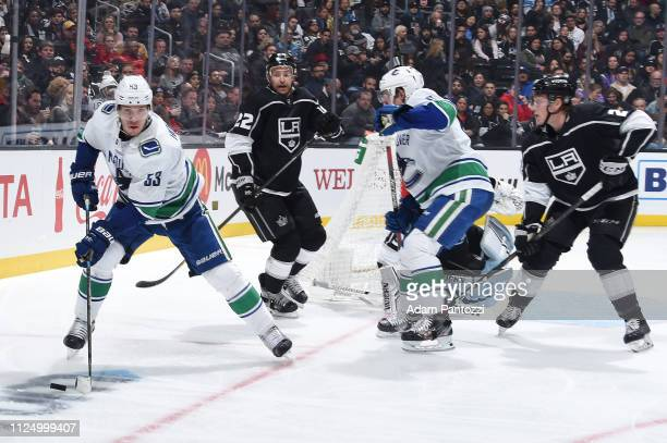 Bo Horvat of the Vancouver Canucks skates with the puck near the Los Angeles Kings goal during the second period of the game at STAPLES Center on...