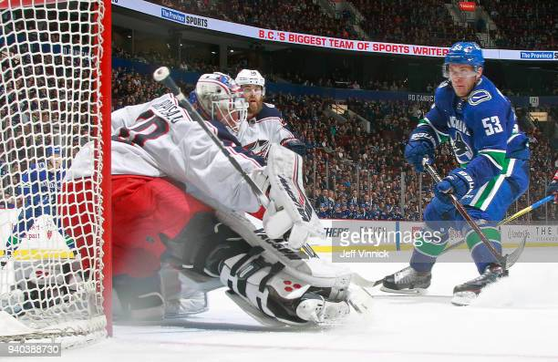 Bo Horvat of the Vancouver Canucks takes a shot on Joonas Korpisalo of the Columbus Blue Jackets during their NHL game at Rogers Arena March 31 2018...