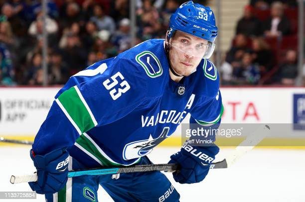 Bo Horvat of the Vancouver Canucks waits for a faceoff during their NHL game against the Anaheim Ducks at Rogers Arena February 25 2019 in Vancouver...