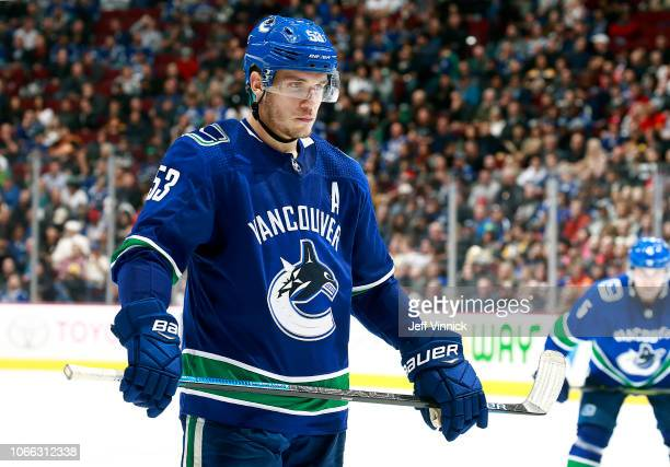 Bo Horvat of the Vancouver Canucks waits to take a faceoff during their NHL game against the Pittsburgh Penguins at Rogers Arena October 27 2018 in...