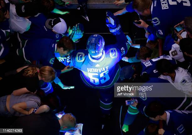 Bo Horvat of the Vancouver Canucks walks out to the ice during their NHL game against the Dallas Stars at Rogers Arena March 30 2019 in Vancouver...