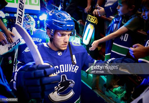 Bo Horvat of the Vancouver Canucks walks out to the ice during their NHL game against the San Jose Sharks at Rogers Arena April 2 2019 in Vancouver...