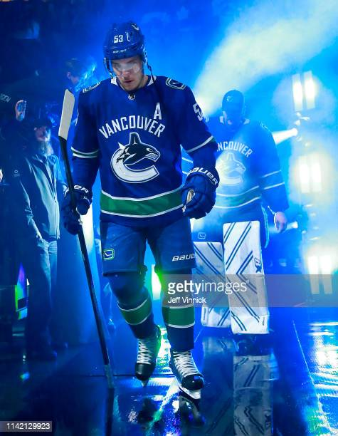 Bo Horvat of the Vancouver Canucks walks out to the ice during their NHL game against the Calgary Flames at Rogers Arena March 23 2019 in Vancouver...