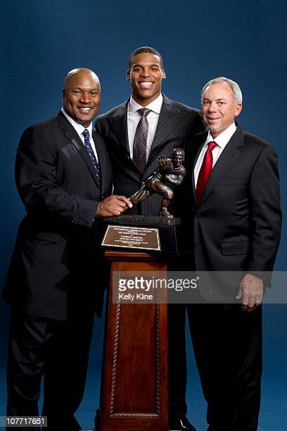 Bo Jackson Cam Newton and Pat Sullivan the three Heisman Trophy winners from the Auburn University Tigers pose during a portrait session on December...