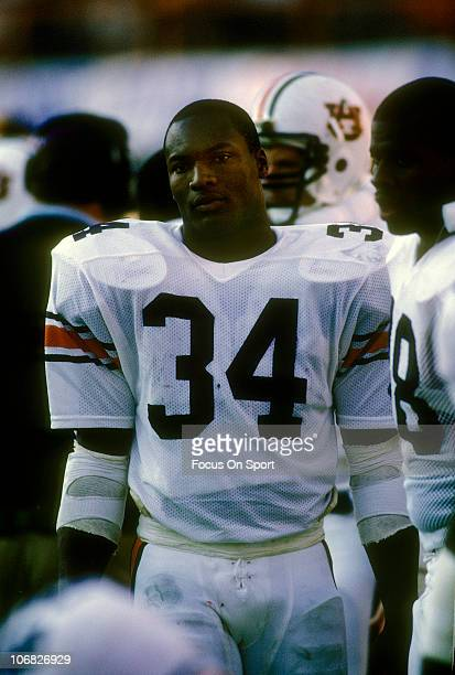 Bo Jackson of the Auburn Tigers looking on from the sidelines during an NCAA college football game circa 1983 Jackson played for the University of...