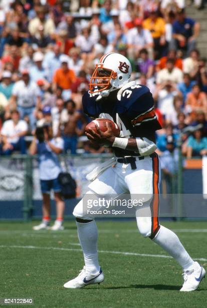 Bo Jackson of the Auburn Tigers returns a punt against the Texas Longhorns during an NCAA college football game at JordanHare Stadium September 3...