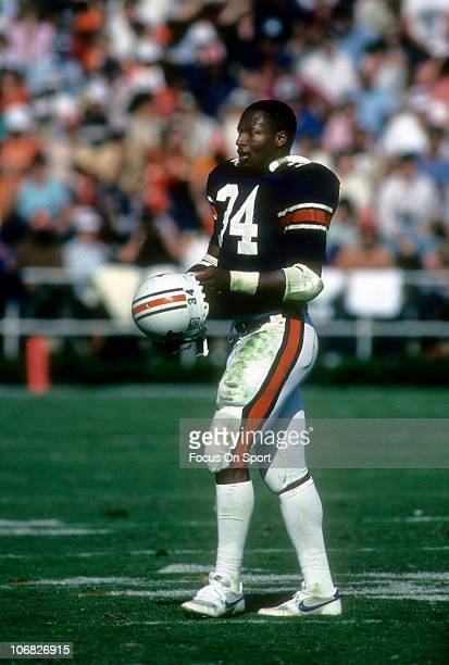 Bo Jackson of the Auburn Tigers walking off the field during an NCAA college football game against the Florida Gators at JordanHare Stadium October...