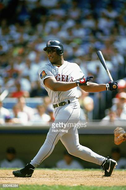 Bo Jackson of the California Angels bats during an MLB game at Yankee Stadium in the Bronx New York