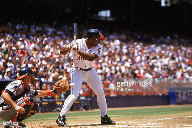 Bo Jackson of the California Angels stands ready at the plate during a game against the Detroit Tigers at Anaheim Stadium on June 12 1994 in Anaheim...