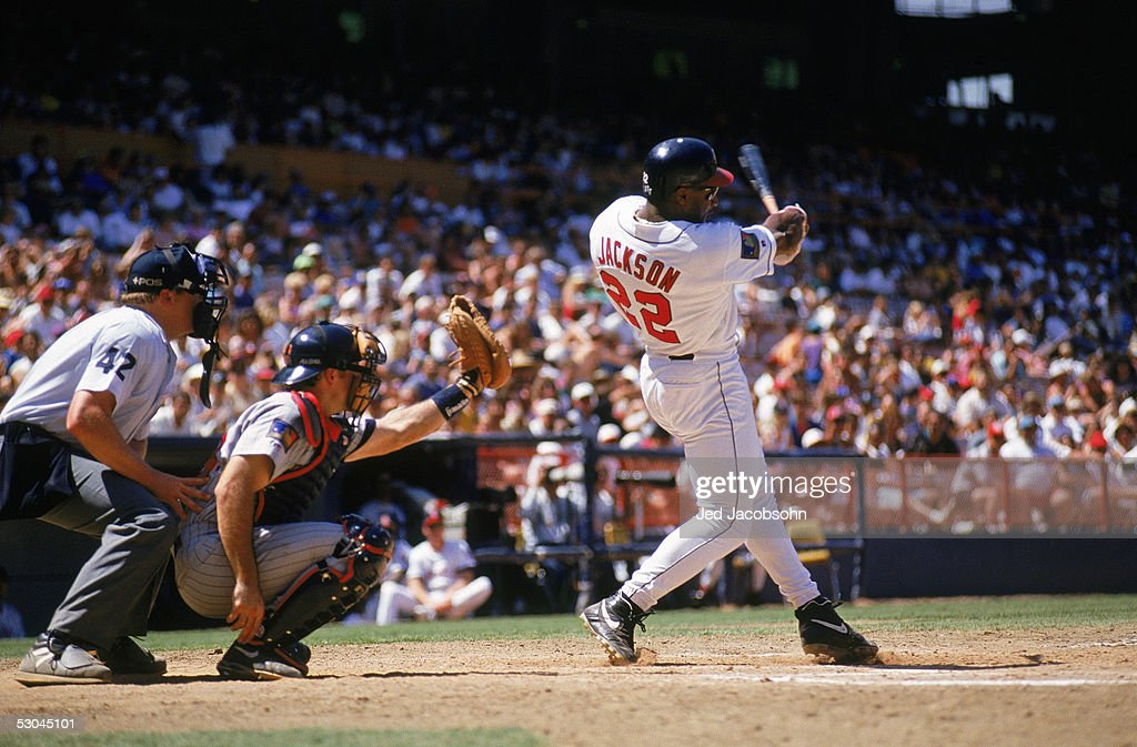 Bo Jackson #22 of the California Angels swings during a game against the Minnesota Twins at Anaheim Stadium on June 8, 1994 in Anaheim, California.