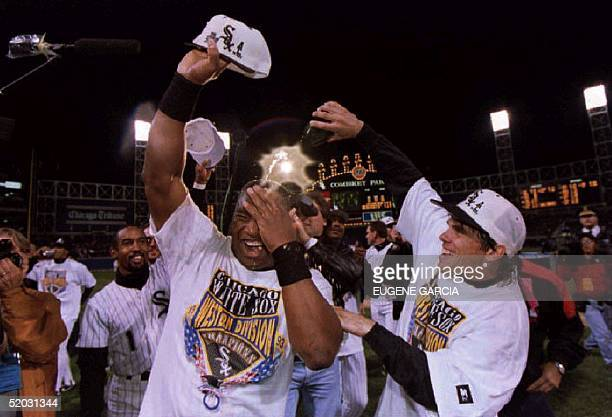 Bo Jackson of the Chicago White Sox gets a champagne shower from teammate Craig Grebeck after Chicago won the American League West championship 27...