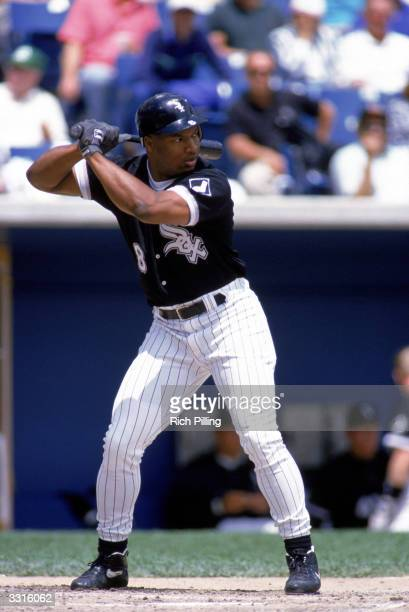 Bo Jackson of the Chicago White Sox stands ready at bat during a Major League Baseball game circa 1993 at Comiskey Park in Chicago Illinois