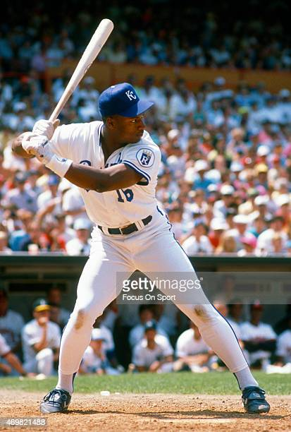 Bo Jackson of the Kansas City Royals and American League Allstars bats during the home run derby July 10 1989 prior to Major League's Baseball...