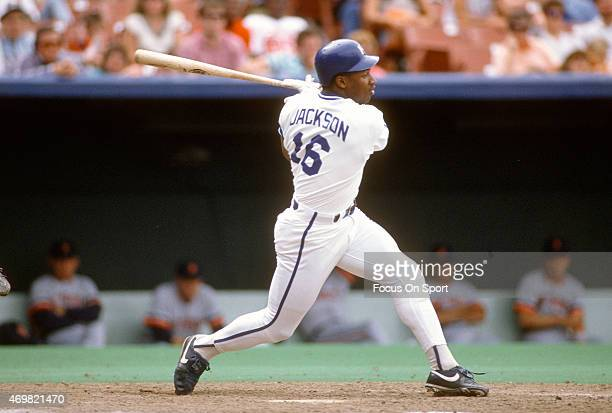 Bo Jackson of the Kansas City Royals bats against the Detroit Tigers during an Major League Baseball game circa 1989 at Kauffman Stadium in Kansas...