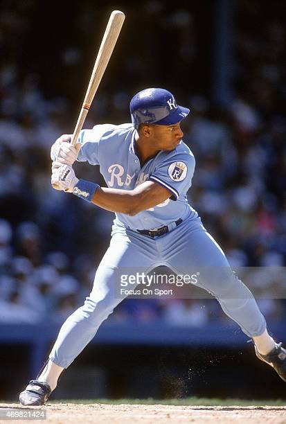 Bo Jackson of the Kansas City Royals bats against the New York Yankees during an Major League Baseball game circa 1987 at Yankee Stadium in the Bronx...