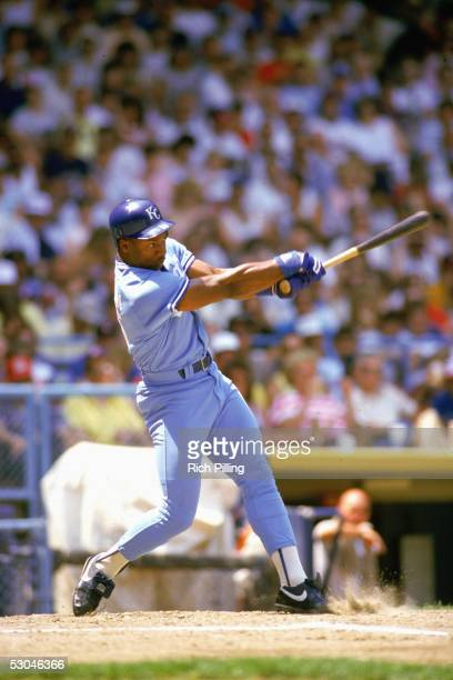 Bo Jackson of the Kansas City Royals bats during an MLB game at the Oakland Coliseum in Oakland California Bo Jackson played for the Kansas City...