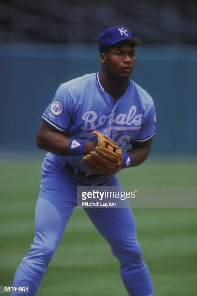 Bo Jackson of the Kansas City Royals before a baseball game against the Baltimore Orioles on August 1 1987 at Memorial Stadium in Baltimore Maryland