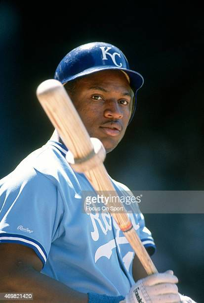 Bo Jackson of the Kansas City Royals looks on from the ondeck circle during an Major League Baseball game circa 1987 Jackson played for the Royals...