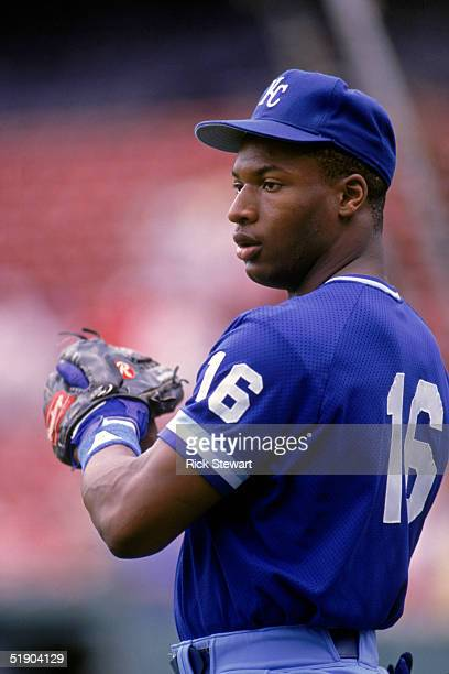 Bo Jackson of the Kansas City Royals looks to throw during practice in 1988.