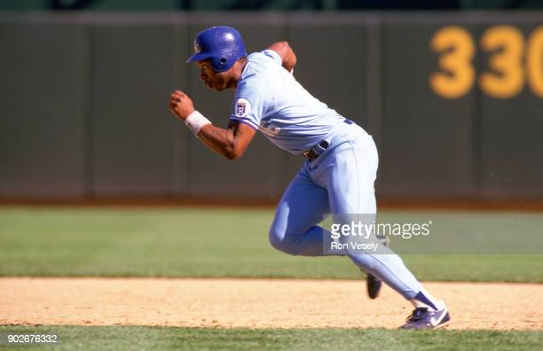 Bo Jackson of the Kansas City Royals runs the bases during an MLB game against the Oakland Athletics at the OaklandAlameda County Coliseum during the...