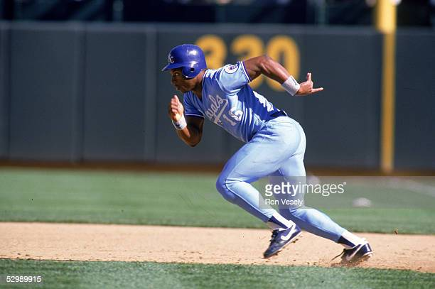 Bo Jackson of the Kansas City Royals sprints to a base during a season game. Bo Jackson played for the Kansas City Royals from 1986-1990.
