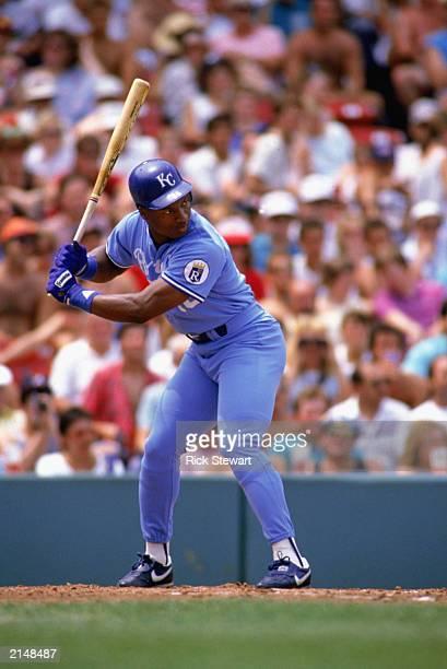 Bo Jackson of the Kansas City Royals stands ready at bat during a MLB game in the 1988 season