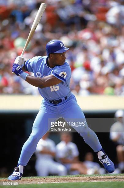 Bo Jackson of the Kansas City Royals stands ready at the plate during a game against the Oakland Athletics at OaklandAlameda County Coliseum in 1990...