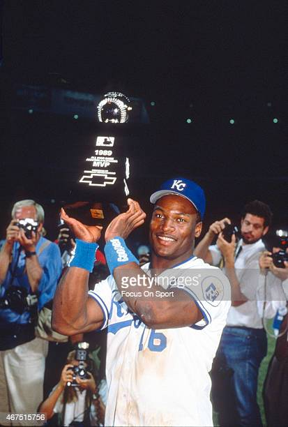 Bo Jackson of the Kansas City Royals wins the Most Valuable Player award in the Major League Baseball All Star Game July 11 1989 at Anaheim Stadium...
