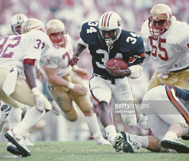 Bo Jackson, Running Back for the University of Auburn Tigers runs the ball during the NCAA Southeastern Conference college football game against the...