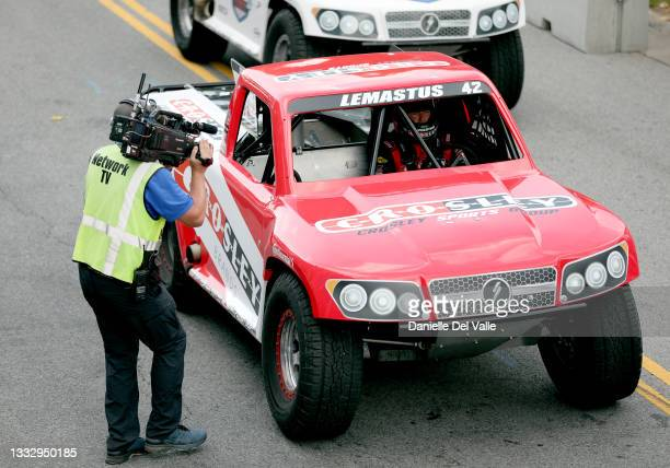 Bo LeMastus is seen in his super truck during the Music City Grand Prix race at Nissan Stadium on August 06, 2021 in Nashville, Tennessee.