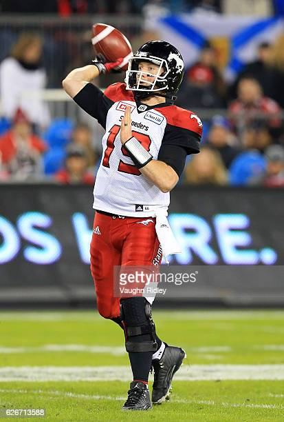 Bo Levi Mitchell of the Calgary Stampeders throws the ball during the 104th Grey Cup Championship Game against the Ottawa Redblacks at BMO Field on...