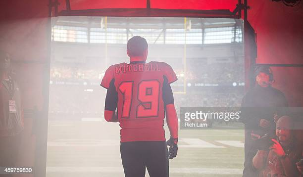 Bo Levi Mitchell of the Calgary Stampeders waits for the player introductions prior to the start of the 102nd Grey Cup Championship Game at BC Place...