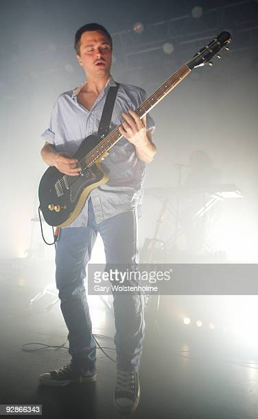 Bo Madsen of MEW perform on stage at Manchester Academy on November 6 2009 in Manchester England