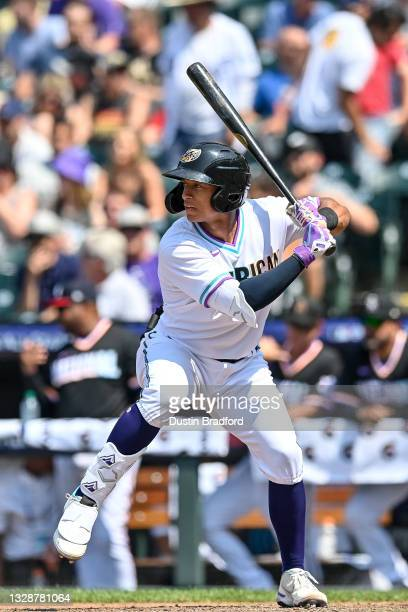 Bo Naylor of American League Futures Team bats against the National League Futures Team during a game at Coors Field on July 11, 2021 in Denver,...